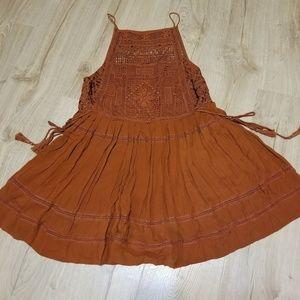 Burnt orange embroidered lace crochet boho dress